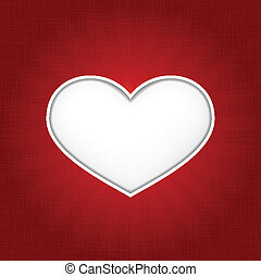 White heart shape with inner shadows on dark red tectured background