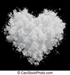 White heart shaped cloud isolated on black background. 3D...