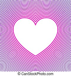 White heart symbol with pink and purple offset lines over ...