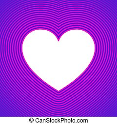 White heart symbol with pink offset lines on purple ...