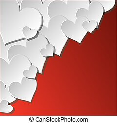White hearts in corner. Greeting card in Vector Format