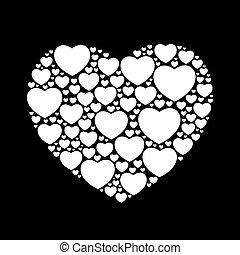 white hearts on black background