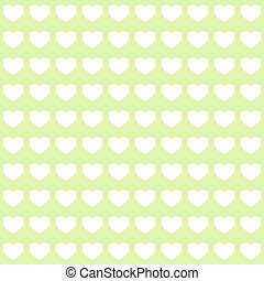 White hearts on green background