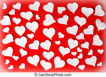 White hearts on red background