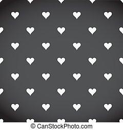 white hearts patter over a black background illustration design