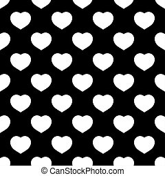 White hearts seamless pattern on black background
