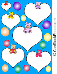white hearts with teddies - Blue background with white ...