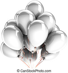White balloons. Modern birthday celebrate party decoration. Happiness joyful clean abstract. This is a detailed three-dimensional render 3d. Isolated on white background