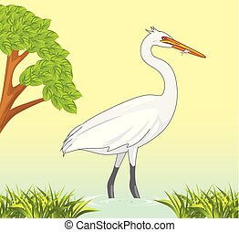 White heron caught a fish in a pond