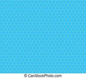 White hexagon grid on cyan, seamless pattern