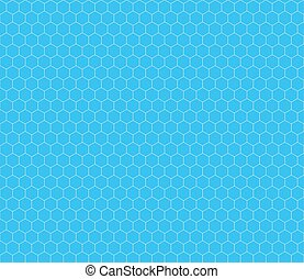 White hexagon grid on cyan, seamless pattern