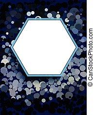 White hexagon on blue circle background