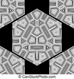 Hexagon Seamless Pattern on Black Background