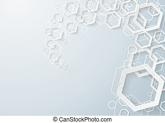 White Hexagons Dust - White hexagons dust on the grey...