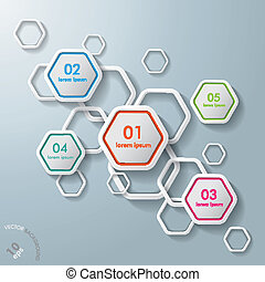 White Hexagons Infographic - White hexagos with shadows on...