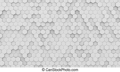 White hexagons mosaic 3D render loopable animation - White...