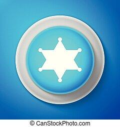 White Hexagram sheriff icon isolated on blue background....