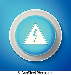 White High voltage icon isolated on blue background. Danger symbol. Arrow in triangle. Warning icon. Circle blue button with white line. Vector Illustration