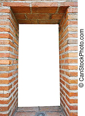 white hole in old wall, brick frame