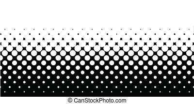 A half tone image with white dots set against a black background.