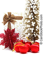 white holiday box with christmas tree and ornament