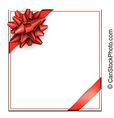 White holiday card with red bow.