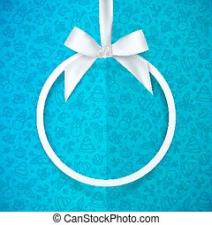 White holiday round frame with bow and silky ribbon at blue Christmas doodle folded paper background