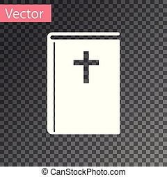 White Holy bible book icon isolated on transparent background. Vector Illustration