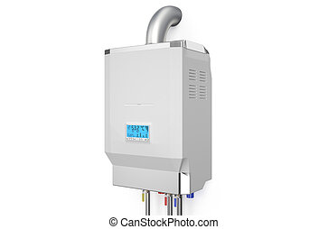 White home gas-fired boiler, water heater isolated on white...