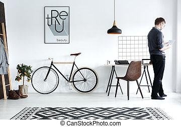 White home interior with desk - Modern, white home interior...