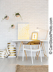 White home office area