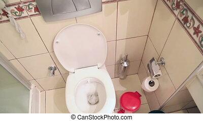 White home toilet closeup - Water flushing in toilet bowl