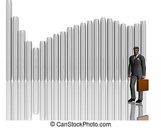 white., homme affaires, sur, illustration