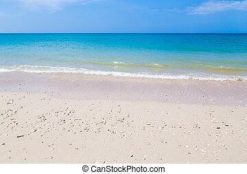 white homok, tengerpart, és, turquoise blue, tenger