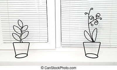 White horizontal blinds on new plastic windows. Design and repair of premises, the concept of window repair. Indoor plants in the interior.