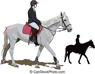 White horse and lady jockey
