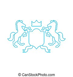White horse and Shield heraldic symbol. Royal Horse for coat of arms. Vector illustration