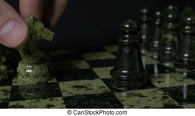 White horse defeated black pawn. Set of chess figures on the playing board