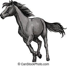 White horse freely running portrait
