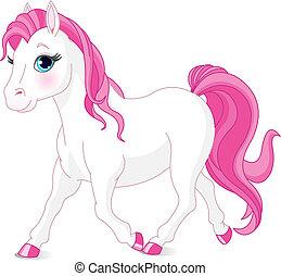 Illustration of cartoon beautiful white pony