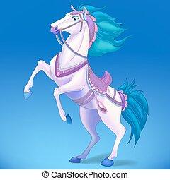 White horse on blue background, symbol of 2014