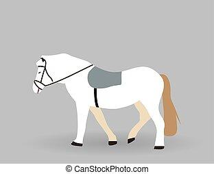 White horse on Gray Background. Vector Illustration.