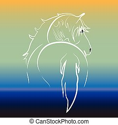 White horse on water logo vector