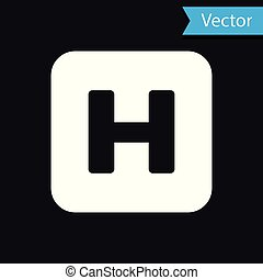 White Hospital sign icon isolated on black background. Vector Illustration