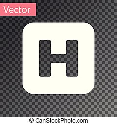 White Hospital sign icon isolated on transparent background. Vector Illustration