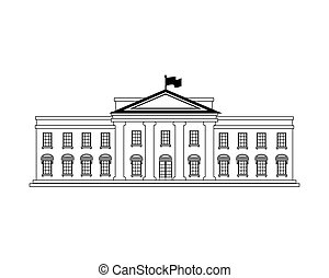 white house building in washington dc united states of america usa vector illustration