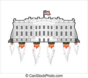 White housefuture with rocket turbo. USA President Residence in space. American National Palace flies. Government building connected. Fantastic main Landmarks Washington dc.