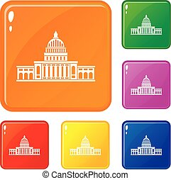 White house icons set vector color