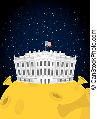 White house in moon. US President Residence in space. American National Palace flies. Government building connected to future state. Fantastic main attraction washington dc.