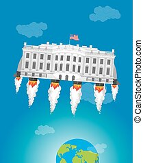 White housein space. USA President Residence rocket turbo. American National Palace flies. Government building connected to future. Fantastic main Landmarks Washington dc.